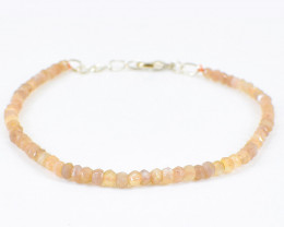Peach Moonstone Faceted Beads Bracelet