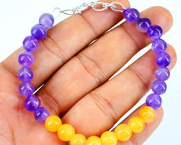Aventurine & Amethyst Round Beads Bracelet