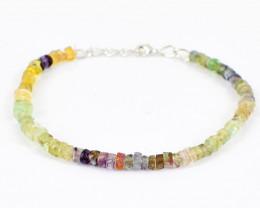 Multicolor Fluorite Round Beads Bracelet
