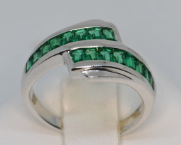 Russian Cerated Emerald and Silver Ring