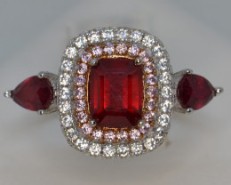 Natural Ruby Silver Ring