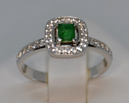 Natural Emerald, Sapphire and Silver Ring