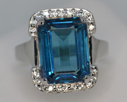 Natural Blue Topaz, CZ and Silver Ring