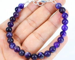 Genuine Purple Amethyst Beads Bracelet