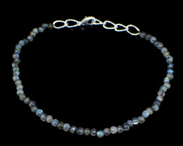 Blue Flash Labradorite Round Beads Bracelet