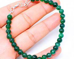 Green Jade Round Beads Bracelet