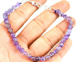 Genuine 55.00 Cts Amethyst Beads Bracelet