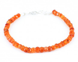 Orange Carnelian Faceted Beads Bracelet