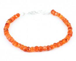 Orange Carnelian Faceted Beads Bracelet