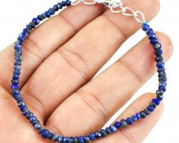 Blue Lapis Lazuli Round Cut Beads Bracelet