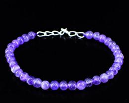 Purple Amethyst Round Beads Bracelet