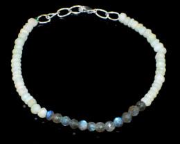 Amazonite & Blue Flash Labradorite Faceted Beads Bracelet