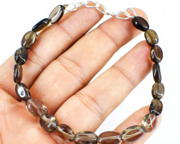 Oval Shape Smokey Quartz Beads Bracelet