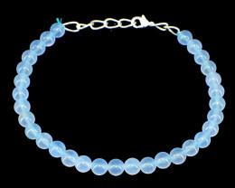 Blue Chalcedony Round Beads Bracelet