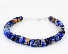 Blue Sodalite Round Beads Bracelet
