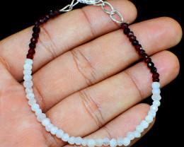 Moonstone & Red Garnet Faceted Beads Bracelet