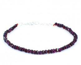 Genuine 40.00 Cts Red Garnet Beads Bracelet