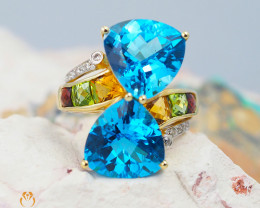 14 K Yellow Gold Cluster Gemstone Ring size 7.25 - R 6108 9400