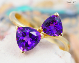 14 K Yellow Gold Amethyst Ring size 7 R 10839 2800