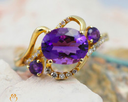 14 K Yellow Gold Amethyst & Diamond Ring size 6.5 R 9786 6500