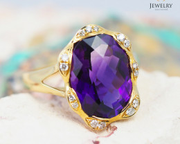 14 K Yellow Gold Amethyst & Diamond Ring size 7 R 8201 7000