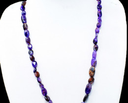 Purple Amethyst Oval Shape Beads Necklace