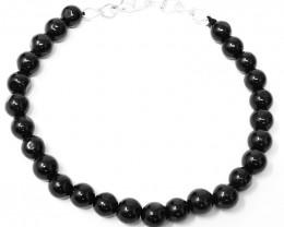 Black Spinel Round Beads Bracelet