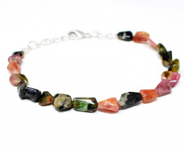 Genuine 25.00 Cts Watermelon Tourmaline Beads Bracelet
