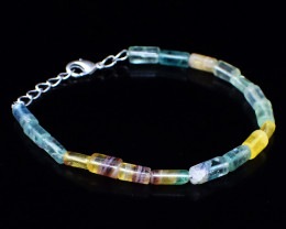 Multicolor Fluorite Beads 8 Inches Long Bracelet