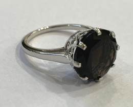 Smokey Quartz 925 Sterling silver ring #9554
