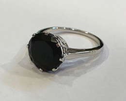 Black spinel 925 Sterling silver ring #9554