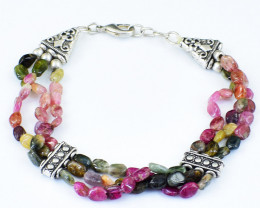 Watermelon Tourmaline Beads Bracelet