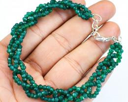 Green Jade Round Cut Beads Bracelet