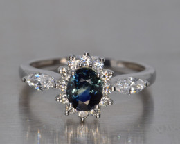 Natural Sapphire, CZ and Silver Ring