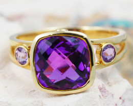 14 K Yellow Gold Amethyst & Diamond Ring size 7 - R 10276 5100
