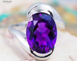 14 K White Gold Amethyst Ring size 6.25 - R 7422 6000