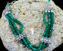 Green Fluorite Faceted Beads Bracelet - Designer