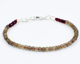Smokey Quartz & Red Garnet Beads Bracelet