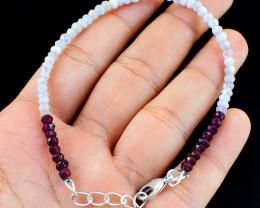 Red Garnet & Moonstone Beads Bracelet