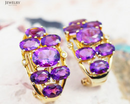 14 K Yellow Gold Amethyst & Diamond Earrings E 9114 9000