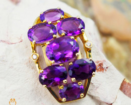 14 K Yellow Gold Amethyst & Diamond Pendant - P 9114 4800