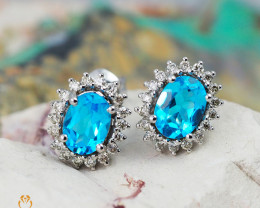 14 K White Gold Blue Topaz & Diamond Earrings - E 8885 6700