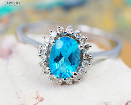14 K White Gold Blue Topaz & Diamond Ring Size 7- R 8885 5200