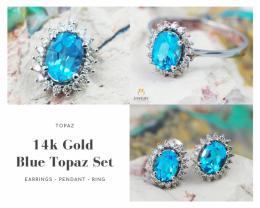 14K White Gold Blue Topaz & Diamond Jewelry Set