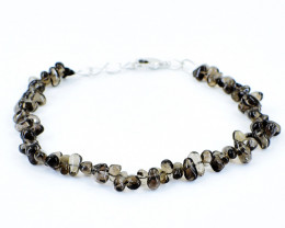Smoky Quartz Pear Shape Beads Bracelet