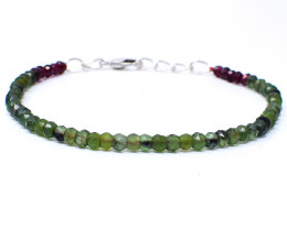 Red Garnet & Green Jade Faceted Beads Bracelet