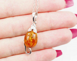 Baltic Amber Sale, Silver necklace , direct from Poland  AM 734