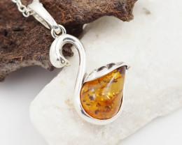 Baltic Amber Sale, Silver Swan  , direct from Poland  AM 735