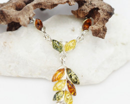 Baltic Amber Sale, Silver multi  amber necklace , direct from Poland  AM 73