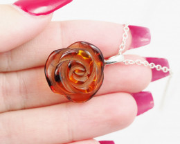 Baltic Amber Sale, Silver Jewelry flower  , direct from Poland  AM 737